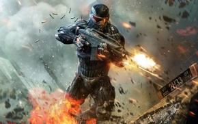 Picture weapons, taxi, fighter, sleeve, nanosuit, CRYSIS 2, New York