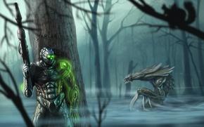 Picture fog, weapons, tree, swamp, monster, warrior, protein, starcraft