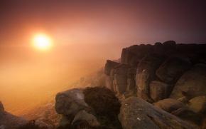 Picture landscape, sunset, mountains