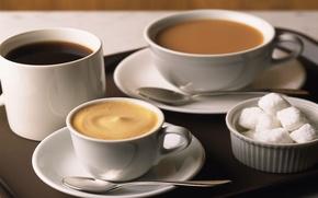 Wallpaper table, background, tea, coffee, food, chocolate, liquid, plate, spoon, mug, Cup, sugar, drink, cappuccino, drink, ...