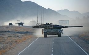 Wallpaper war, tank, road, column, Leopard 2A6, Afghanistan
