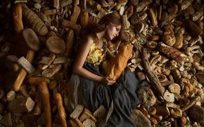Picture girl, bread, Lichon, a lot of bread