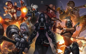 Wallpaper Blizzard, art, Overwatch, female characters, genderbend