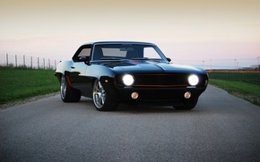 Picture road, the sky, black, tuning, coupe, Chevrolet, 1969, Camaro, Chevrolet, Camaro, tuning, the front, Muscle …
