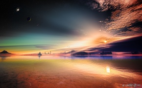 Picture the sky, stars, rocks, art, alien planet