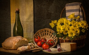 Picture cheese, bow, bread, tomatoes, sausage, Bon appetit