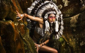 Picture feathers, Squaw, paint, Indian, roach