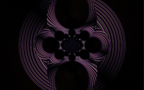 Picture circles, abstraction, fantasy, pattern, rotation, sphere, black background, purple fantasy