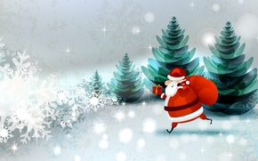 Picture forest, snowflakes, holiday, box, Santa Claus, bag, tree