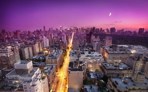 Picture sunset, moon, new York, sunset, new york, usa, nyc, East Side