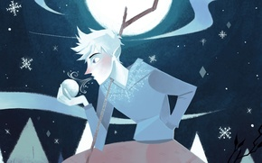 Picture snowflakes, the moon, art, guy, snow, Rise of the Guardians, Rise of the guardians, Jack …