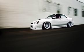 Picture tuning, speed, white, subaru, impreza, Subaru Impreza, wrx sti