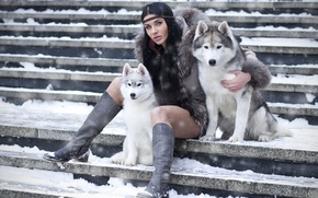 Picture beauty, lady, dogs, brunette, boots, stairs