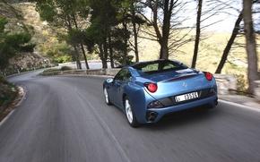 Picture Auto, Road, Blue, Machine, Speed, Convertible, Ferrari, Supercar, California, Sports car, The descent