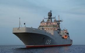 "Picture Navy, at anchor, ""Ivan Gren"", ship, Landing, the evening, Baltika"