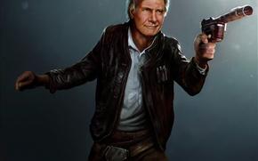 Wallpaper the old man, star wars, art, Harrison Ford, han solo