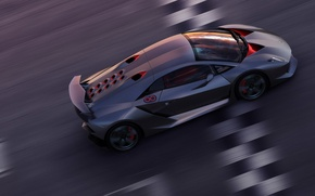 Wallpaper Sesto Elemento, finish line, Lamborghini, speed, track