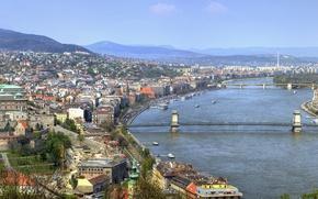 Picture bridge, panorama, bridge, panorama, Hungary, Hungary, Budapest, The Danube, Budapest, Danube