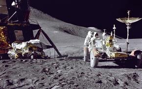 Picture The moon, Falcon, astronaut, Jim Irwin, lokomobil, Apollo 15