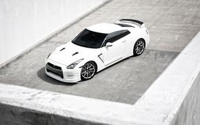 Picture white, GTR, Nissan, white, Nissan