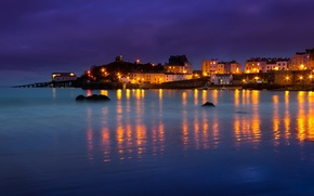 Wallpaper sea, night, lights, home, Bay, Wales, Tenby