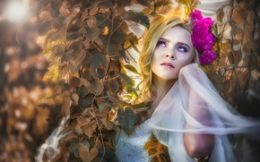 Picture leaves, flowers, makeup, *•●♥ Beautiful Women ♥●•*