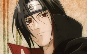 Picture portrait, headband, Naruto, red eyes, sharingan, Akatsuki, Itachi uchiha