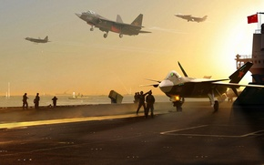 Picture sea, ships, the carrier, Shenyang Aircraft Corporation, stealth multirole fighter, Shenyang, Chinese multipurpose fighter of ...
