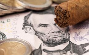 Picture bill, Cuban cigar, dollar, coins