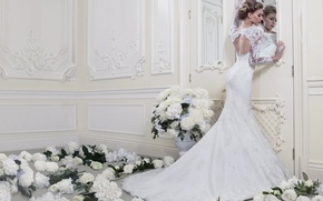 Picture girl, flowers, dress, ring, decoration, white, the bride, wedding