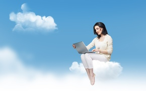 Picture girl, clouds, smile, barefoot, cloud, brunette, costume, laptop, charm, dark-eyed