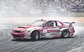 Picture auto, competition, smoke, skid, race, drift, drift, Nissan Silvia, S13