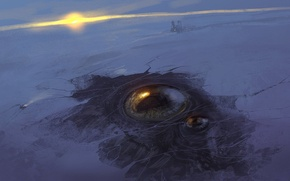 Wallpaper snow, art, eyes, winter, station, the sun, ice, sunset