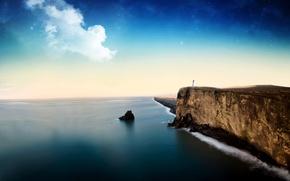 Picture sea, the sky, rocks, landscapes