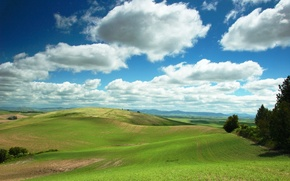 Picture the sky, clouds, hills, Field