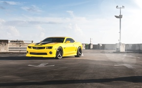 Picture the sky, clouds, yellow, Chevrolet, front view, chevrolet, yellow, tinted, Camaro RS, camaro rs