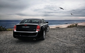 Picture Sea, Auto, Black, Chrysler, Sedan, Coast, 300, Overcast