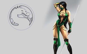 Picture girl, sign, body, Mortal Kombat, pole