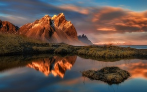 Picture the sky, clouds, sunset, mountains, lake, the evening