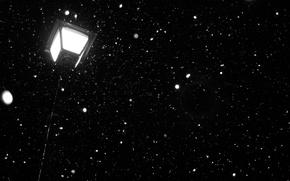 Picture light, snow, night, dark, lantern, night, snow