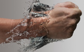 Picture water, hand, blow, fist