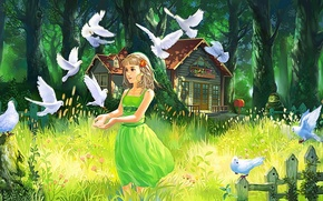 Picture forest, summer, grass, eyes, look, girl, trees, nature, hair, the fence, art, house, painting, green ...