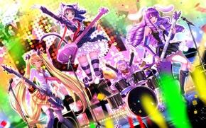 Picture girls, guitar, group, anime, art, microphone, ears, cyan, swordsouls, show by rock!!