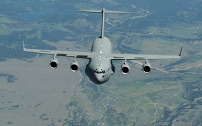 Wallpaper strategic, McDonnell Douglas, Globemaster III, landscape, C-17, flight, military transport, the plane