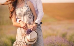 Picture field, girl, love, flowers, background, widescreen, Wallpaper, mood, woman, watch, blur, hat, dress, pair, wallpaper, …