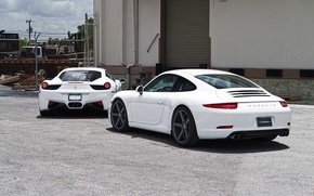Wallpaper Ferrari, 458 italia, porsche, rear view, ferrari, white, white, Carrera, Italy, 911 carrera, Porsche