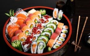 Wallpaper fish, figure, sushi, rolls, seafood, cuts