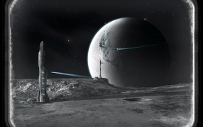 Picture ship, planet, tower, the window
