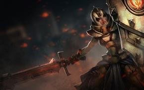 Picture girl, sword, warrior, art, shield, League of Legends, Leona