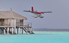 Wallpaper the ocean, Bungalow, The Maldives, hydroplane